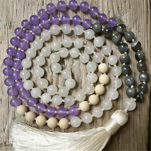 Natural Labradorite Amethyst 108 Beads Handmade Tassel Necklace Cuff Lucky