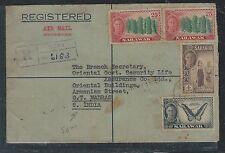 SARAWAK (P2909B)  1955 KGVI 1C BUTTERFLY+4C+25CX2 REG A/M FROM MIRI TO INDIA