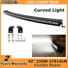 "42"" 210W Curved Single Row CREE LED Light Bar Combo Off-road Car SUV Jeep Ford"