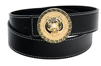 QHA Mens Designer Stitched Leather Tiger Lion Belt Buckle Luxury Casual Waist