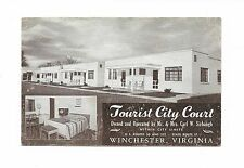 TOURIST CITY COURT HOTEL MOTEL Carl W. Sirbaugh EMBETONE POSTCARD WINCHESTER VA