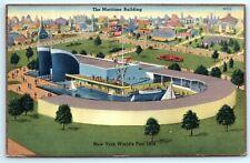 VTG 1939 New York Worlds Fair Linen Maritime Building Water Boats Sail Sky A1
