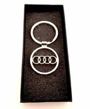 AUDI 3D Silver Car Logo Key chain key ring stainless comes with Black Box