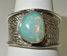 NATURAL ETHIOPIAN OPAL HANDMADE ETCHED BAND RING in 925 STERLING SILVER SIZE 8.5