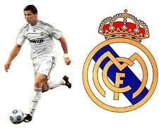 "GIANT Real Madrid FC Shield + Cristiano Ronaldo JUMBO SIZE Wall Stickers 33"""