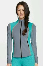 NWT Zella Adrenaline Silver Slate Front Zip Jacket SZ M $108