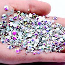SS3-SS50 Glitter Crystal AB Nail Art Rhinestones Non Hot Fix FlatBack Stones