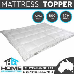 Mattress Topper King Bed Underlay Fibre Cotton Cover Pillowtop Quilted Protector