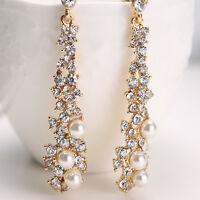 Luxury Crystal Pearl Rhinestone Dangle Chandelier Earrings Bridal Women Jewelry