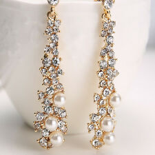 Crystal Women's Pearl Rhinestone Dangle Chandelier Earrings Bridal Gold Jewelry
