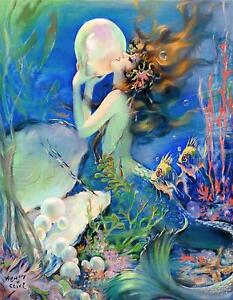 VINTAGE FANTASY PEARL BUBBLE MERMAID OCEAN SEA NYMPH *CANVAS* PHOTO ART PRINT