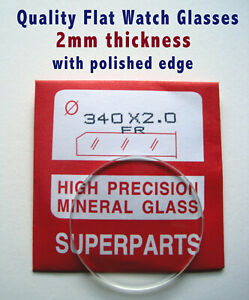 Watch crystal, 2mm thick Flat Mineral Glass, sizes Ø 17-50mm, 1st class post