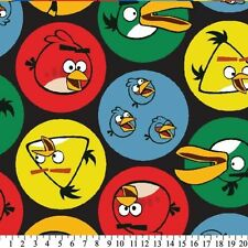 Angry Birds Bird Circles on Black Fleece Fabric Print by Yard A333.03