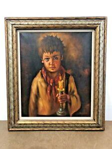 Vintage OIL PAINTING Evil Boy framed wall art big sad eyes mid century modern