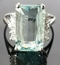 Fashion 7.20TCW Elongated Aquamarine Diamond 14k white gold ring