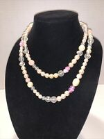 """Vintage 40"""" Long Beaded Necklace ~ Pale PINK  Beads, Faux Pearls & Accent Beads"""