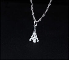 """Solid S925 Sterling Silver Small 3D Eiffel Tower Pendant Chain 18"""" Necklace Gift"""