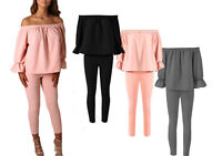 Women Ladies Frill Off Shoulder Top and Trouser Two Piece Lounge Wear Style Suit