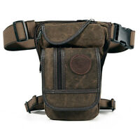 Men Drop Leg Bag Motorcycle Tactical Canvas Hip Pouch Belt Waist Fanny Pack