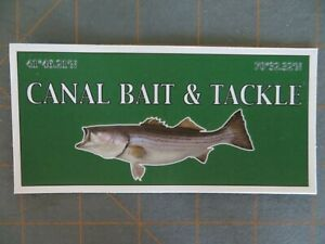 Striped Bass Canal Bait & Tackle Fishing Sticker - Boat or Truck  5 x 2 1/2 inch