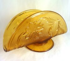 TIARA AMBER SANDWICH Glass NAPKIN HOLDER Indiana Vintage