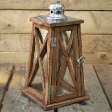 Nautical Tapered Dark Wooden Hurricane Candle Lantern 30Cm X 15Cm