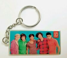 1D One Direction Group Photo Keychain Rectangle Picture Charm Metal Key Fob