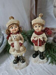 Winterkinder Deko Figur Weihnachten Christmas Vintage Shabby Landhaus 4x11cm