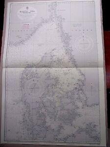 "1965 BALTIC SEA Western Sheet - Nautical Sea Navigation Chart MAP 28"" x 41"" B75"
