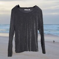 Chico's Travelers Womens Top Size 1 Long Sleeve Pullover Stretch Black M