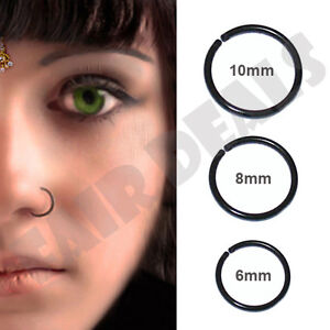 Black Anodized Small Thin 0.6mm Thick 6mm 8mm 10mm Nose Ring Hoop Stud Tragus