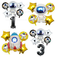 Astronaut Space Birthday Balloons Party Foil Latex Happy Birthday Galaxy Rocket