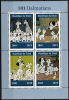 Chad 2019 MNH 101 Dalmatians 4v M/S Dogs Disney Cartoons Animation Stamps