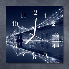 Glass Wall Clock Kitchen Clocks 30x30 cm silent Bridge Blue