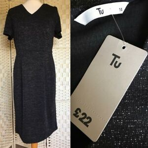 TU Ladies Women's Black Shimmery Short Sleeved Midi Dress Size 14 New with Tags
