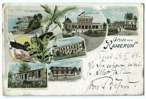 Ak Gruß aus Kamerun Kolonialbauten Litho 1899