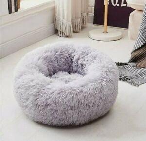 40cm Pet Dog Cat Calming Beds Comfy Shag Warm Fluffy Bed Nest Mattress Donut Pad