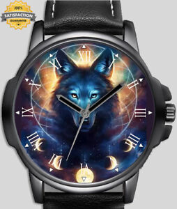 Gothic Blue Wolf Moon Phases Unique Wrist Watch FAST UK
