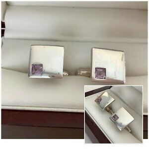 Vintage Gents Sterling Silver 925 & Mauve Stone Square Snap Back Cufflinks
