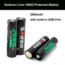 4X Soshine 18650 3.7V 2600mAh Rechargeable Battery With Micro Built-In USB Port