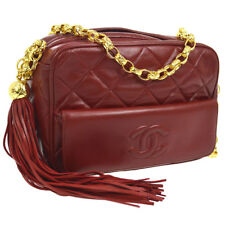 ec1ae2336c78 Auth CHANEL CC Quilted Fringe Single Chain Shoulder Bag Red Leather NR11734i