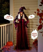 """Creepy 71"""" HANGING TALKING WITCH Red Light Eyes Sound Touch Halloween Prop Decor"""