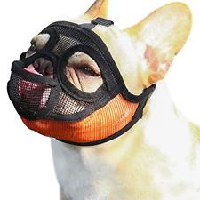 Short Snout Dog Muzzle - Adjustable Breathable Mesh Bulldog Muzzle/Dog Mask Chew