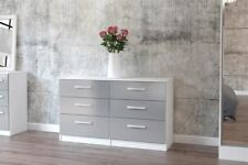 Birlea White Gloss & Grey Gloss Lynx 6 Drawer Wide Chest