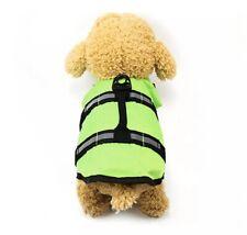 Pet Dog Safety Vests Life Jacket Reflective Stripe Swimming Suit Green S SizeNew