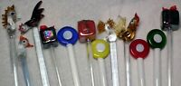 Lot of 12 Glass Swizzle Sticks Stir Cocktail Stirrers Glass - See Pic's