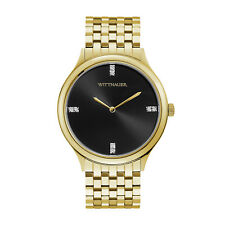 Wittnauer Men's WN3074 Quartz Diamond Accents Black Dial Gold-Tone 47mm Watch