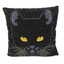 New Pier 1 Midnight Carnival Heavily Beaded Black Cat Pillow Beautiful! 13�x13�