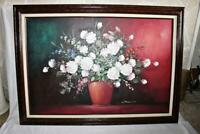 Nice Framed Oil Painting On Canvas Signed Johnson Bouquet Flowers Size 42 x 30