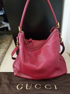 GUCCI Pebbled Calfskin Miss GG Hobo (Red)